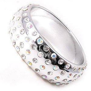 4 Row Swarovski Crystal Rhinestone Metallic Silver Acrylic Bangle Bracelet