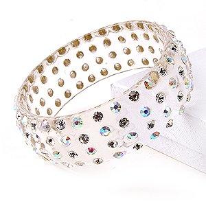 4 Row Swarovski Crystal Rhinestone Clear AB Wide Lucite Bangle Bracelet