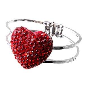 Chunky Big Australian Crystal Rhinestone Red Heart Valentine Hinge Clamp Bracelet