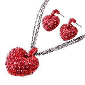 Swarovski Crystal Rhinestone Red Puffy Valentine Heart Necklace Earring  Set