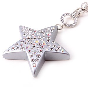 Swarovski Crystal Rhinestone Silver Lucite Chunky Large Star Necklace