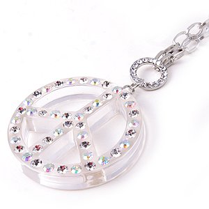 Swarovski Crystal Rhinestone Clear Lucite Chunky Large Peace sign Necklace