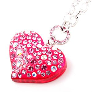 Swarovski Crystal Rhinestone Hot Pink Lucite Chunky Large Heart Necklace
