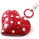 Austrian Crystal Rhinestone Huge Big  Red Lucite Chunky Large Heart Necklace