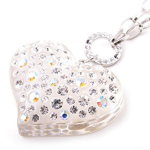 Swarovski Crystal Rhinestone Clear Lucite Chunky Large Heart Necklace