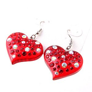 Swarovski Crystal Rhinestone Red Lucite Chunky Large Heart Earrings