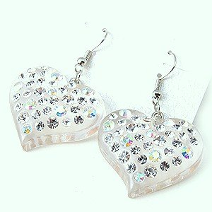 Swarovski Crystal Rhinestone Clear Lucite Chunky Large Heart Earrings