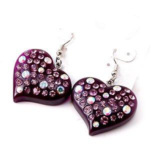 Swarovski Crystal Rhinestone Purple Lucite Chunky Large Heart  Earrings
