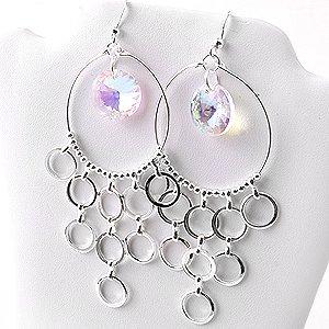 Silver Chandelier Hoop Circles Rings Earrings Crystal AB Aurora Borealis
