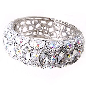 Swarovski Crystal & Acrylic Rhinestone Silver Metal Hinge Bangle Clamp Bracelet Bridal Prom