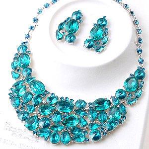 Chunky Teal Blue Crystal Rhinestone Statement Bib Necklace Earring Set Bridal Prom