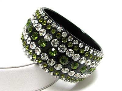 Chunky Green Swarovski Crystal Rhinestone Lucite Wide Bangle Bracelet