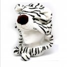 Warm Winter Adult Kids Child Childrens Plush Fur White Tiger Flap Hat One Size Fleece Lined