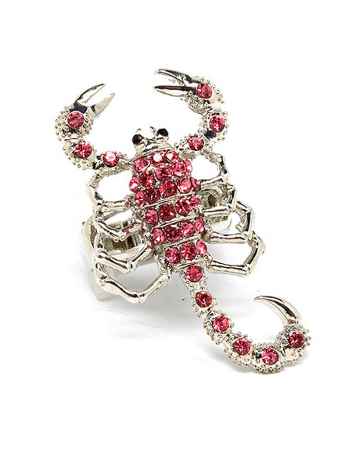 Huge Pink Austrian Crystal Rhinestone Adjustable Stretch Large Chunky Scorpion Ring