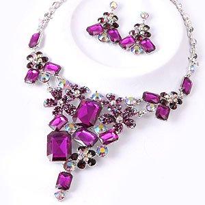 Chunky Purple Crystal Rhinestone Bib Statement Necklace Earrings Bridal Wedding Prom