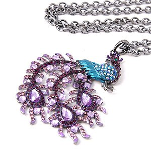 Chunky Blue Purple Swarovski Crystal Bling Rhinestone Peacock Statement  Long Pendant Necklace