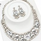 Chunky Crystal Clear Rhinestone Statement  Bib Necklace Earring Set Bridal Prom Wedding
