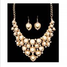 Chunky Off white Cream Pearl & Crystal Rhinestone Bib Necklace Earring Set Prom Bridal Runway