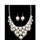 Chunky White Pearl & Austrian Crystal Rhinestone Bib Necklace Earring Set Prom Bridal Runway