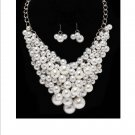 Huge Chunky Lucite White Pearl Cluster Balls & Baubles Bib Necklace Earring Set  Prom Bridal