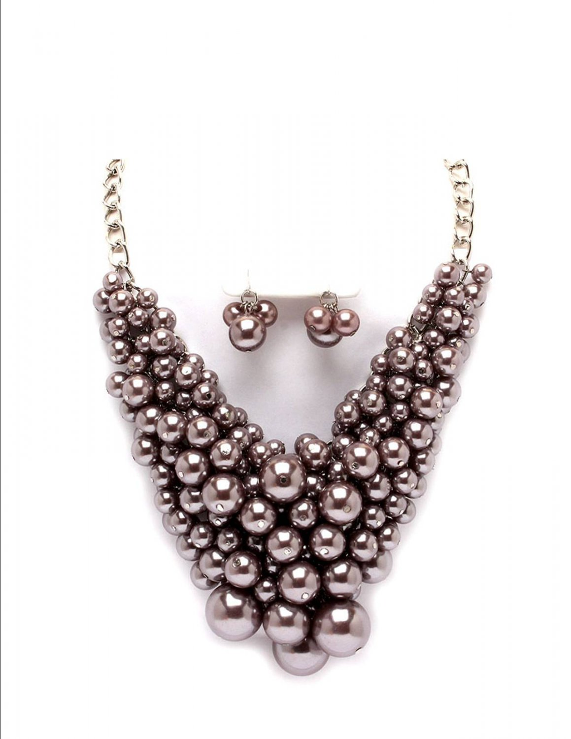 Huge Chunky Lucite Brown Gray Pearl Cluster Balls & Baubles Bib Necklace Earring Set  Prom Bridal