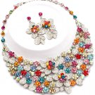 Clear Multi Color AB Floral Chunky Rhinestone Statement Bib Necklace Bridal Prom Pageant