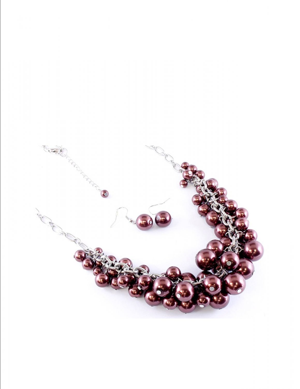 Chunky  Brown Swarovski Crystal Pearl Balls Baubles Long Necklace Earring Set Bridal Prom Casual