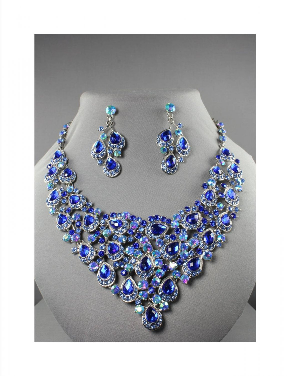 Chunky Royal Cobalt Blue Rhinestone Drag Queen Statement Bib Necklace Bridal Prom Pageant