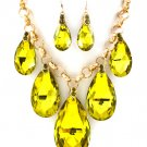 Huge Chunky Yellow Green Crystal Ice Glass Tear Drop Teardrop Bib Necklace Earring Set  Prom Bridal