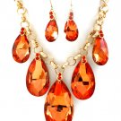 Huge Chunky Orange Crystal Ice Glass Tear Drop Teardrop Bib Necklace Earring Set  Prom Bridal