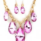 Huge Chunky Pink Crystal Ice Glass Tear Drop Teardrop Bib Necklace Earring Set  Prom Bridal