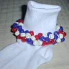 Girls Patriotic Red White and Blue Custom Beaded Crocheted Socks