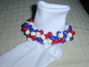 Girls Patriotic Red White and Blue Custom Beaded Crocheted Socks
