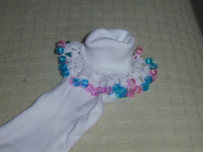 Girls Pink and Aqua Custom Beaded Crocheted Socks-Ladies Sizes Available