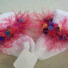 Fun and Festive Pink and Multicolored Hand Crocheted  Fur Trimmed Socks