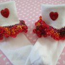 Valentine Girls Custom Beaded Crocheted Socks Fiesta Red -Ladies Sizes Available