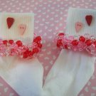 Valentine Girls Custom Beaded Crocheted Socks Red and Pink-Ladies Sizes Available