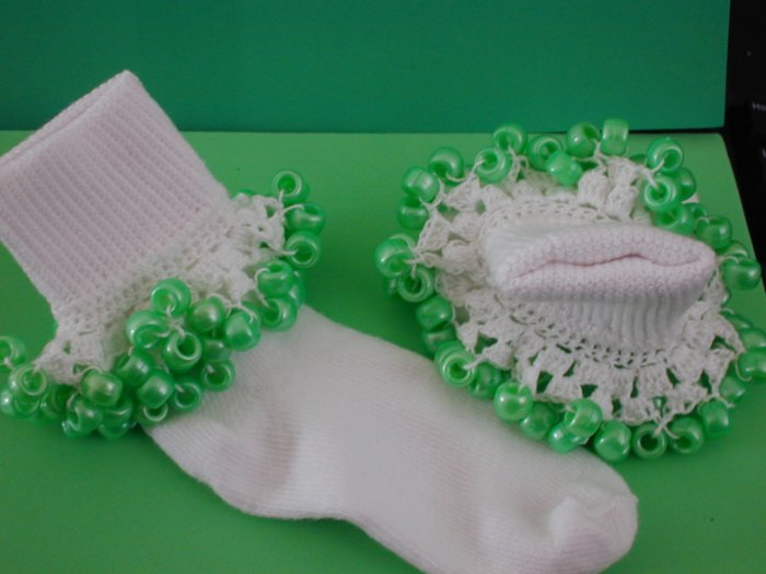 St Patrick's White Trim  Girls Custom Beaded Crocheted Socks-Ladies Sizes Available