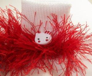 Fluffy Red Hello Kitty Crocheted Bobby Socks