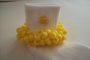 Yellow Duck  Beaded Crocheted Socks