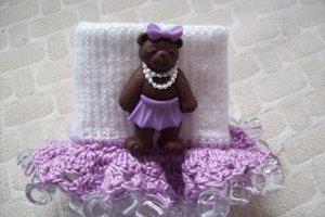 Purple Princess Bear Girls Custom Beaded Crocheted Socks
