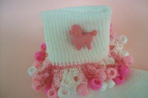 Pink Poodle Girls Custom Beaded Crocheted Socks