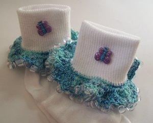 Blue Sparkle Butterfly Girls Custom Beaded Crocheted Socks