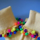 Yellow Fun Color Girls Custom Beaded Crocheted Socks