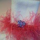Furry Pink Butterfly Dream Fluffy Girl's Crocheted Socks