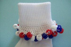 Patriotic Red White and Blue Girls Custom Beaded Crocheted Socks