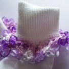 Purple Plaid Crocheted Beaded Bobby Socks Pink