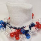 Patriotic Red White and Blue  Crocheted Beaded Bobby Socks