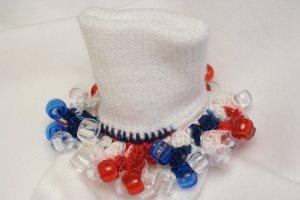 Patriotic Red White and Blue  Crocheted Beaded Bobby Socks