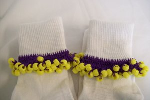 Purple and Yellow Cheerleading/School Spirit Beaded Bobby Socks